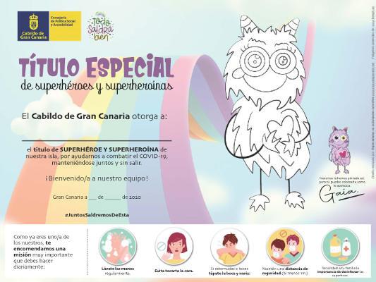 Diploma de superhéroes a la población infantil por ayudar a combatir covid