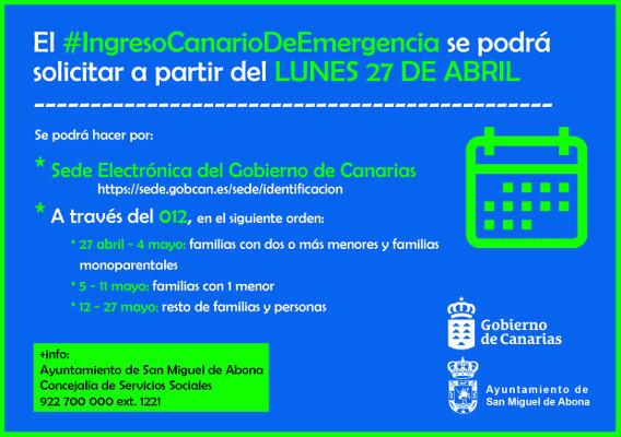 Ingreso Canario de Emergencia, a partir del próximo lunes 27 de abril